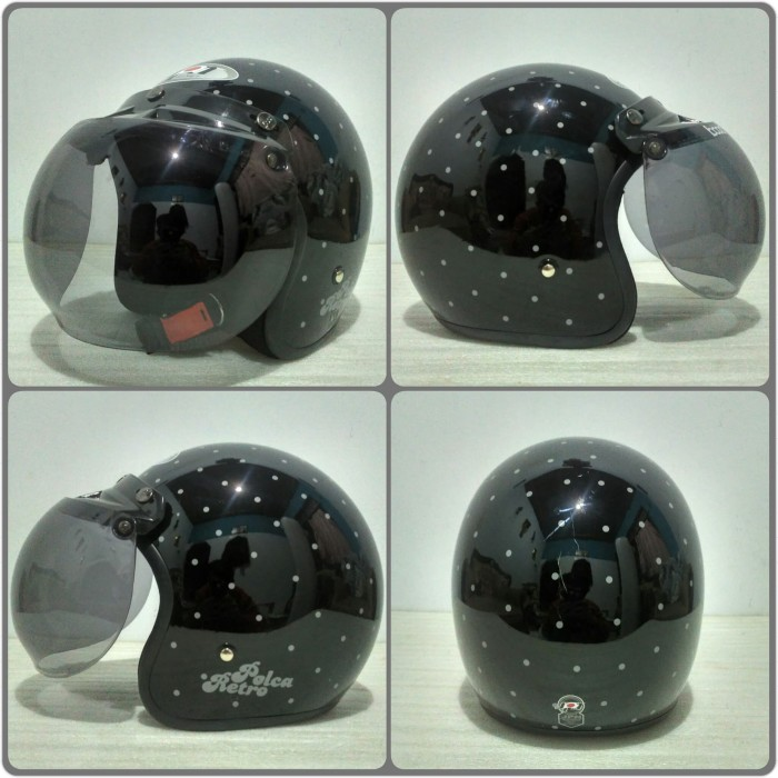 harga Helm bogo jpn motif polca retro hitam grey glossy + kaca bogo original Tokopedia.com