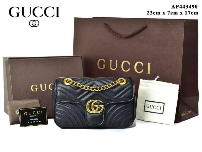 Jual Tas Gucci Shoulder GG Marmont Matelasse Mini Hitam Semi Premium ... caa72d704d