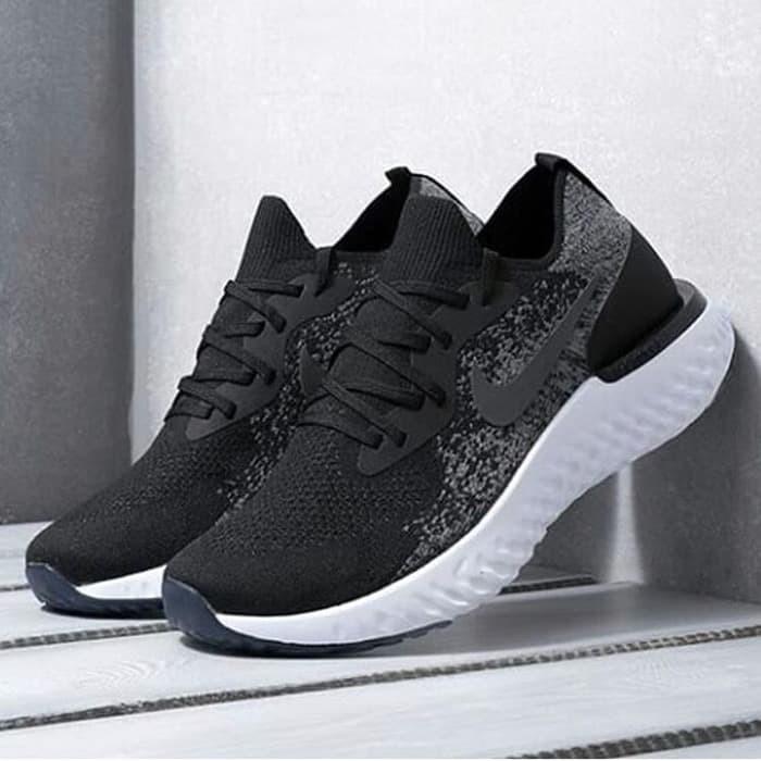 f0c58db6411d PORMO Nike Epic React Flyknit Black White Premium Original sepatu nik