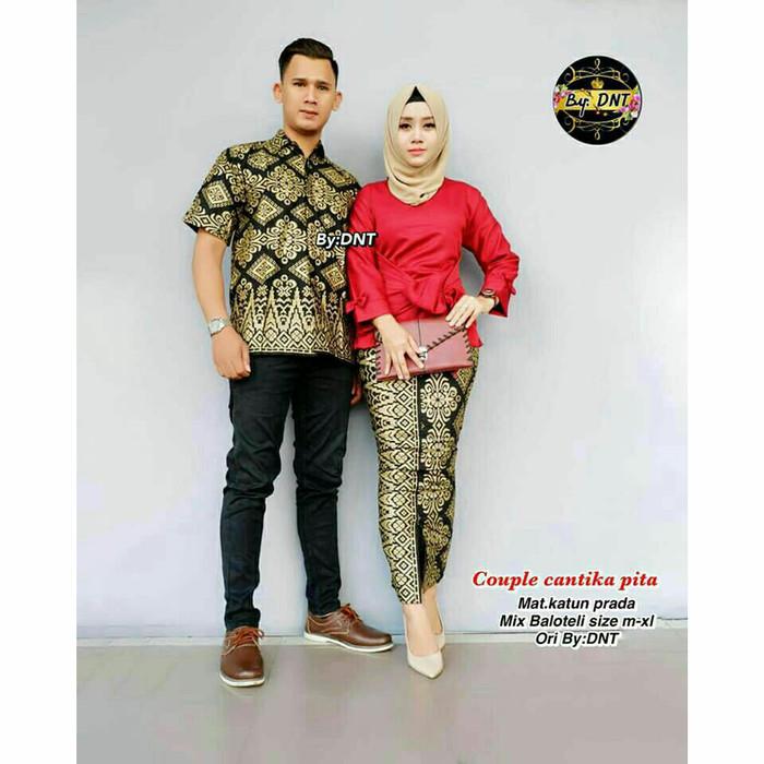 Busana Muslim Couple Kahiyang Batik Baju Pasangan Gamis Sarimbit ... d039404d9e