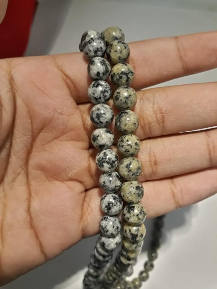 Paket Kalung dan Gelang Black Jade 8mm Corak Lengket Magnet