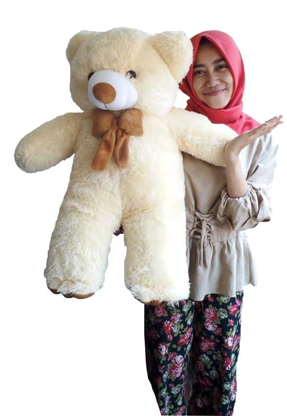 Jual Teddy bear cream lucu size xl jumbo 80 cm murah - GUDANG BONEKA ... 119911678d