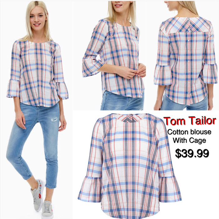 authentic quality online shop lace up in Jual Blouse Tom Tailor With Cage Plaid Shirt - Kab. Gresik - adr_collection  | Tokopedia