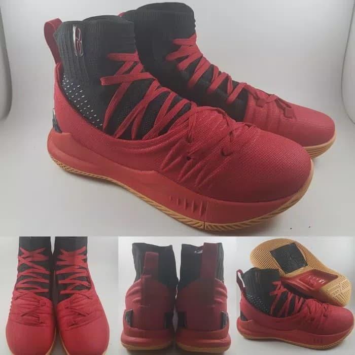 5c92ccadee9c Jual Sepatu Basket Under Armour Stephen Curry 5 High Cut Red Black ...