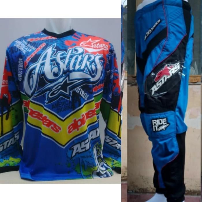 harga Astars jersey celana biru setelan trail cross motocross Tokopedia.com
