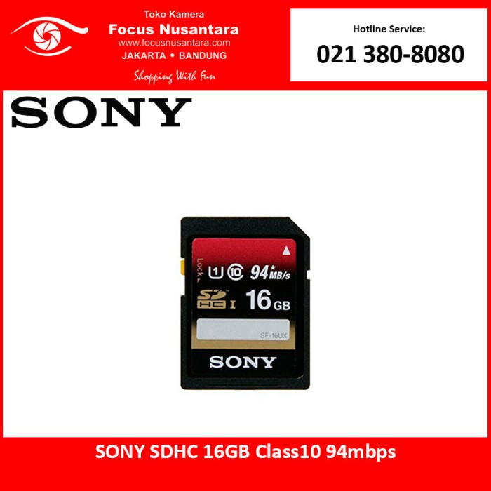 harga Sony sdhc 16gb class10 94mbps Tokopedia.com