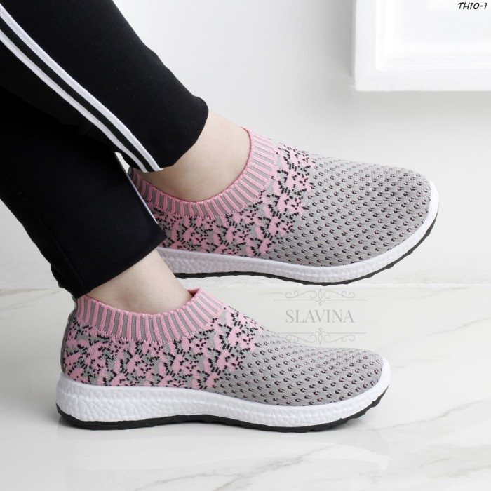 harga Slavina lydia fashion sneaker knit slip on series #th10-1 Tokopedia.com