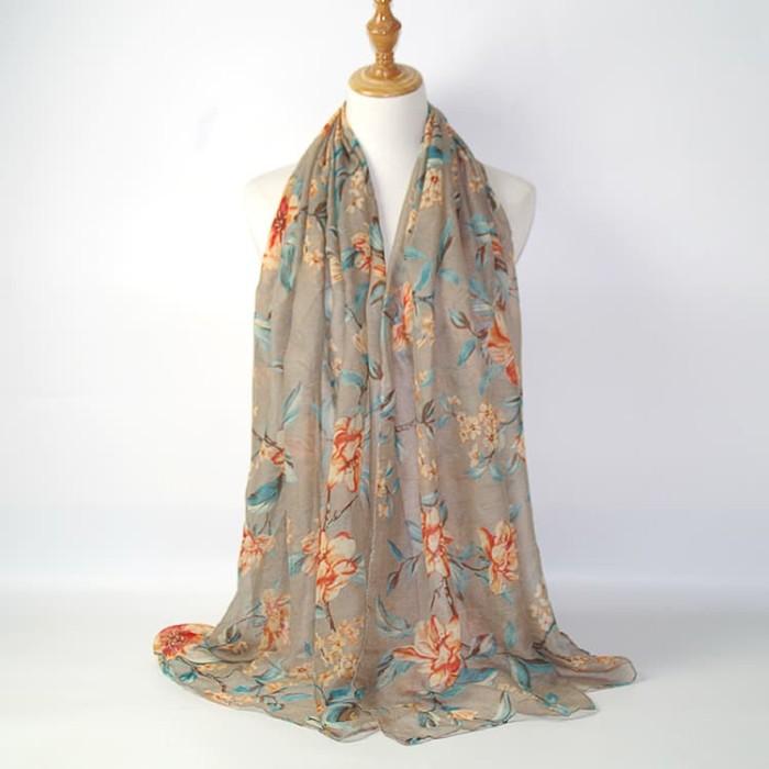 Jilbab pashmina impor motif bunga