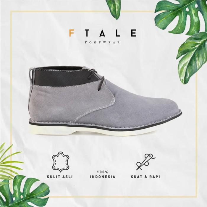 ftale -branson suede grey green brown/sepatu boots casual pria kulit - cokelat 40