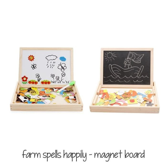 Edufuntoys - Farm Spells Happily Magnetic Board/ Papan Tulis Magnet/