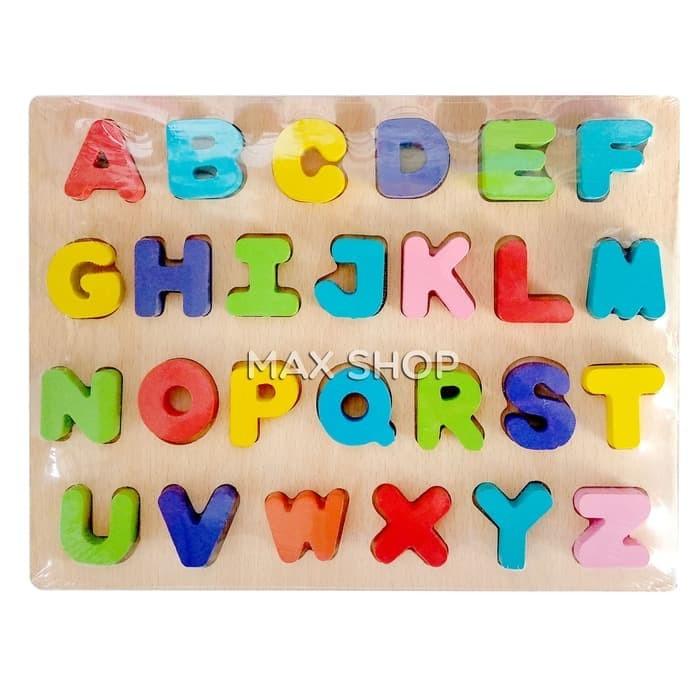 Mainan Edukasi Anak - Puzzle Chunky Kayu Natural Alphabet Huruf Besar