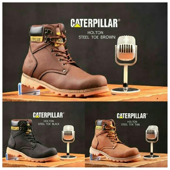 Sepatu Boots Pria Sepatu Caterpillar Holton Steel Toe Brown Safety