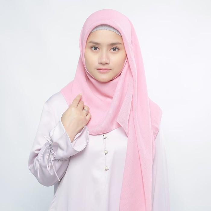 eclemix jilbab cornskin pink 3 scarf square segi empat - merah muda