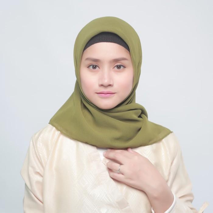 eclemix jilbab cornskin green 2 army scarf square segi empat - hijau