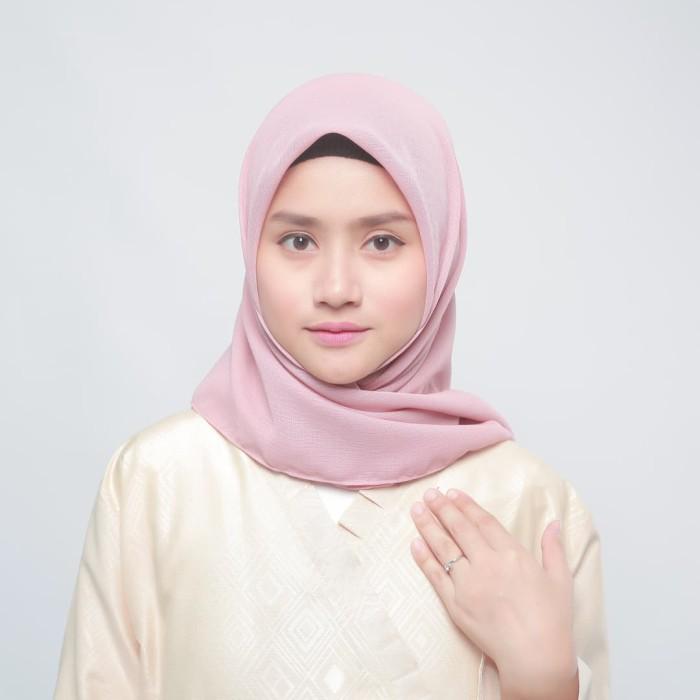 eclemix jilbab cornskin pink 1 dusty scarf square segi empat - merah muda
