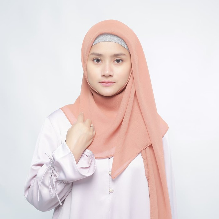 eclemix jilbab cornskin salem scarf square segi empat - merah muda