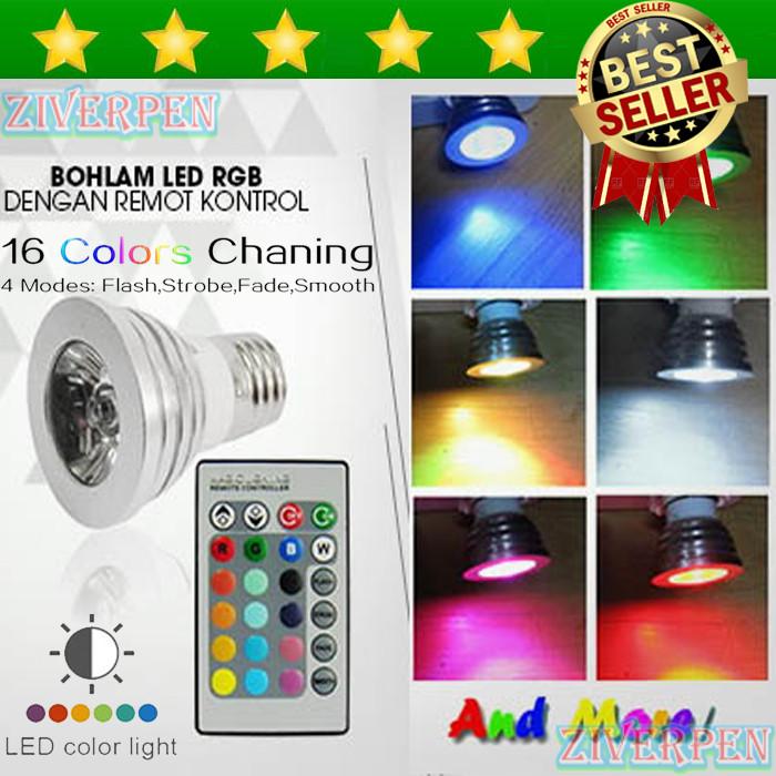 Lampu Bohlam LED RGB warna warni dengan Remot Kontrol