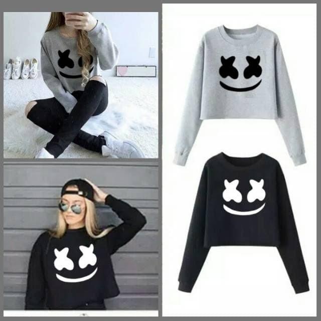 Jual Sweater Wanita Crop Marshmello (LD 95 0baa012db5