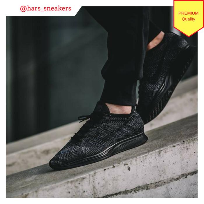 Jual Sepatu Nike Flyknit Racer Triple Black  a727698c29