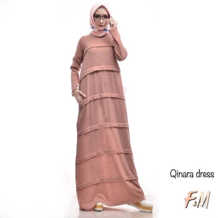 Qinara Dress Ori F&M Middi Maxy Lovely Simple Casual Polos Murah