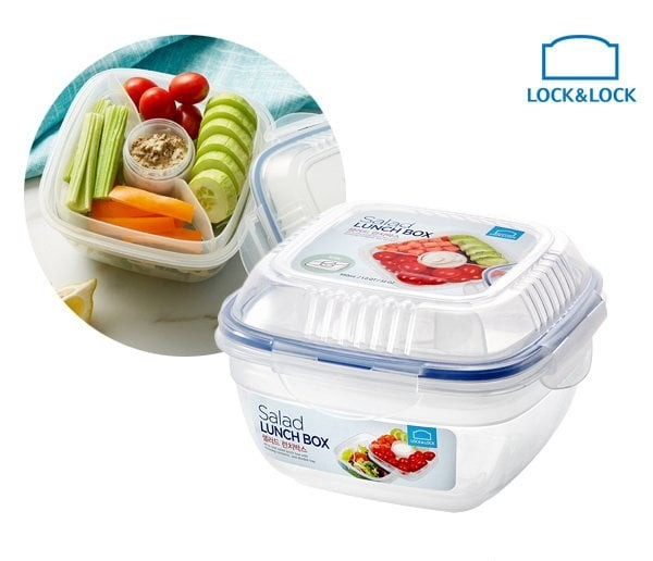 harga Lock&lock salad lunch box 950ml with tray sauce bottle hsm8440t Tokopedia.com