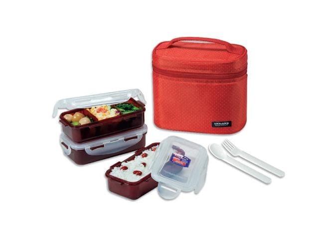 harga Lock&lock lunch box set with gray bag spoon fork-hpl754dr Tokopedia.com