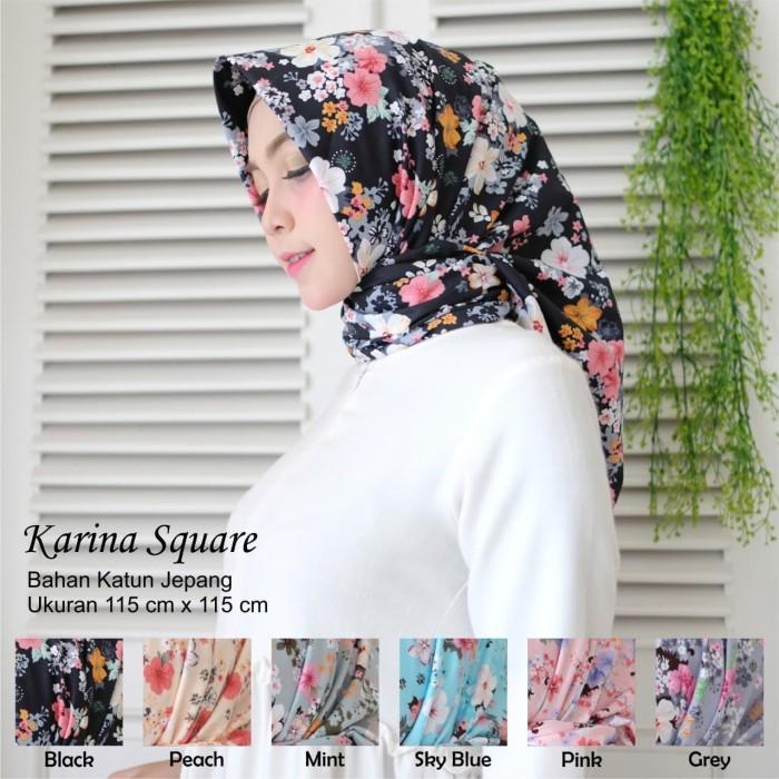 Lk karina square - jilbab segiempat motif bunga katun jepang