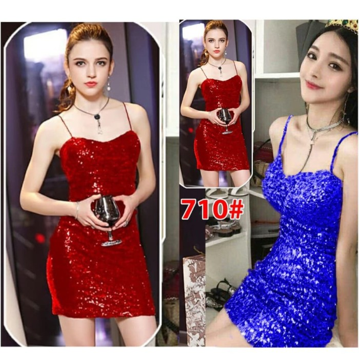 harga 710-15# mini dress bahan blink blink strech Tokopedia.com