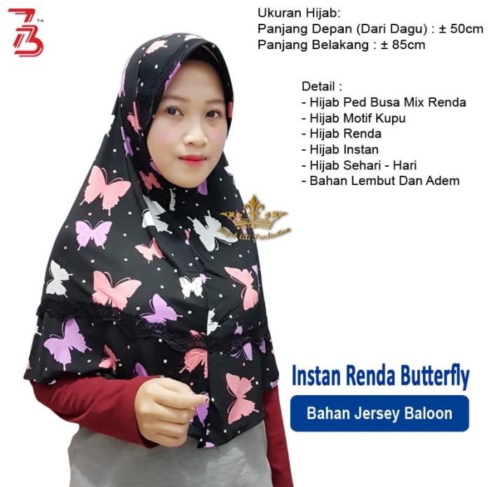 Instan Renda Butterfly / Jual Hijab Motif Kupu / Hijab Renda Motif