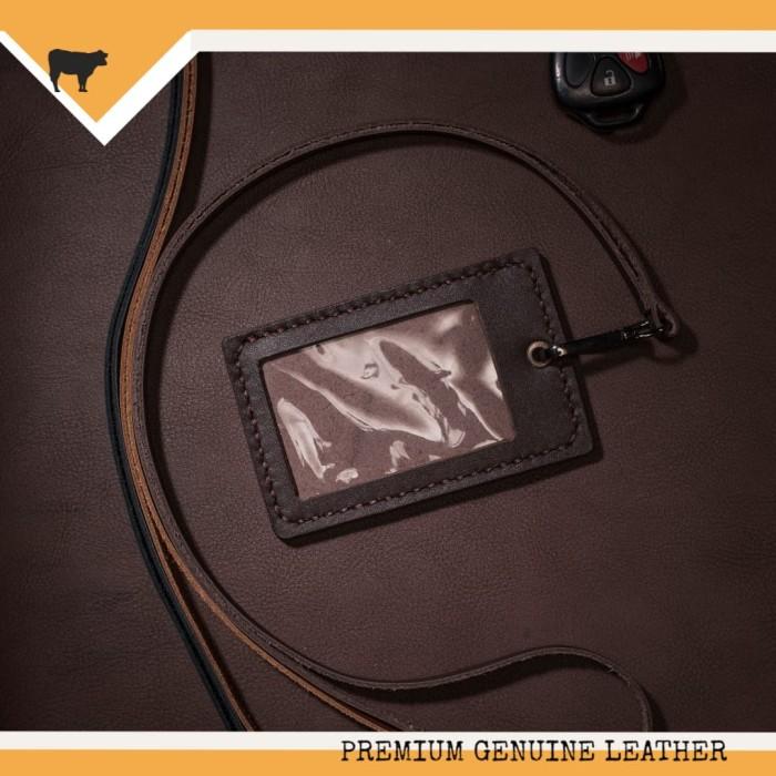 harga Name tag id card holder kulit asli handmade warna dark brown Tokopedia.com