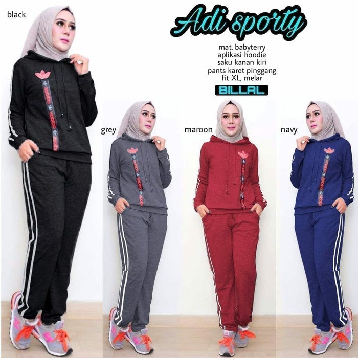 Jual Setelan Baju Olahraga Wanita Adi Sport Bahan Babitery ... 0256fde5fd