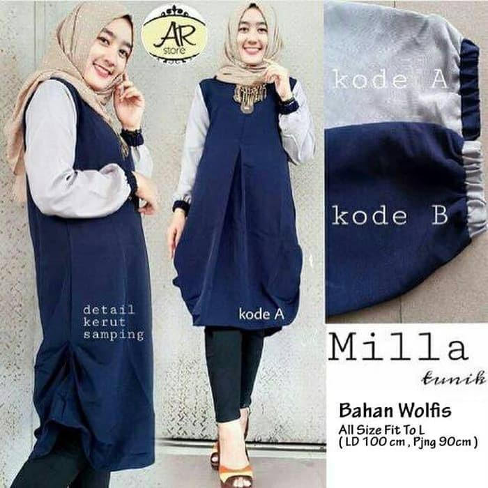 harga Atasan wanita blouse tunic wanita baju muslim blus muslim milla tunik  Tokopedia . f0f03fe818