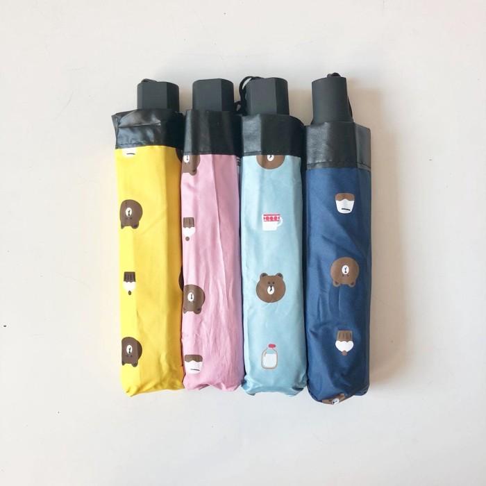 Payung lipat 3 line brown bear / anituv / lapis hitam - 328