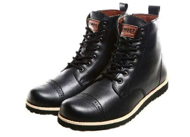 NEW SALE SEPATU BOOT PRIA zip resleting kulit almost magnum brown BEST 0667da4453