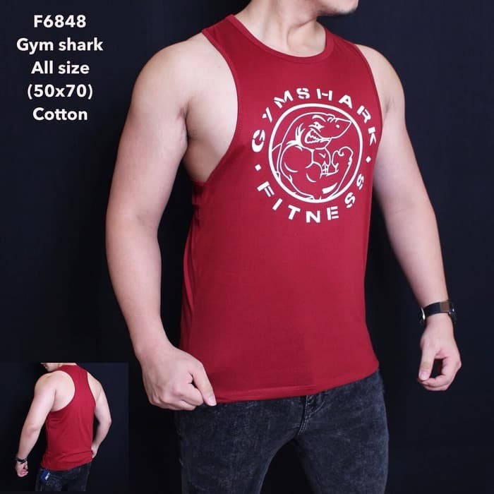 Singlet Tanktop Gym Shark Merah F6848