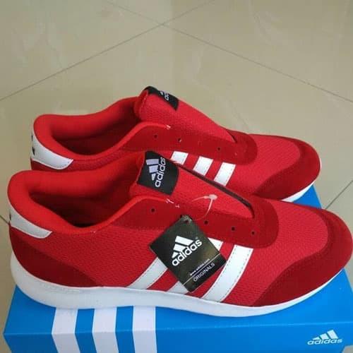 Sepatu Kets Sneaker Jogging Adidas Pria Warna Merah Putih Ukuran Besar
