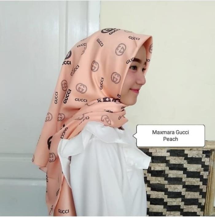 38933911700 Jual Promo Hijab Jilbab Segiempat Motif Maxmara Square Gucci Peach ...