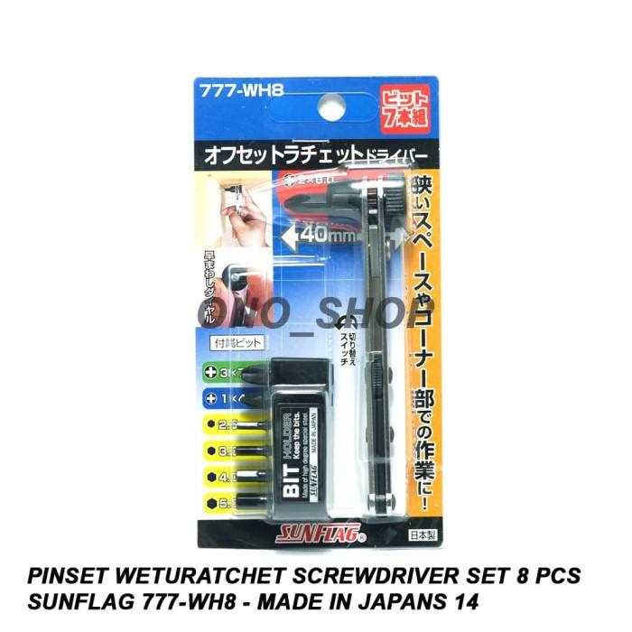 Ratchet Screw Driver Bit Set 8PCS 777-WH8 JAPAN