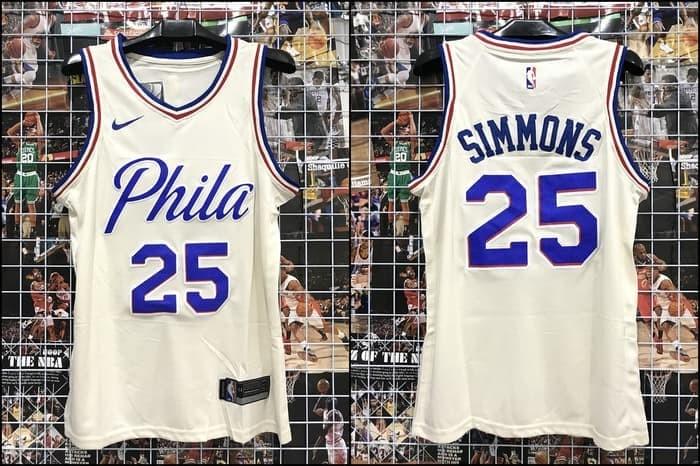 detailed look 3dbf2 a2b2d Jual JERSEY NBA SWREVO PHILA #25 SIMMONS CITY EDITION PUTIH 17/18 - SB.  SEPATU BASKET | Tokopedia