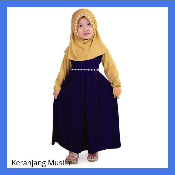 Baju Muslim Gamis Anak Perempuan Jersey Murah - Navy Cream