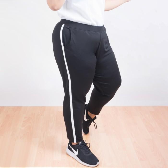 Fashion big size - valerie stripe pants - hitam 5xl