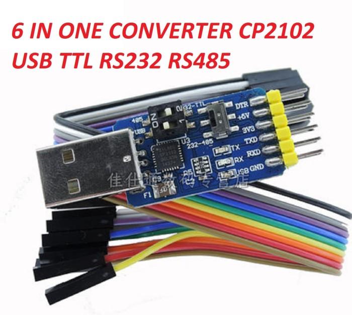 Foto Produk CONVERTER USB SERIAL TTL RS232 RS485 6 IN ONE CP2102 WITH PIN DTR dari M-kontrol