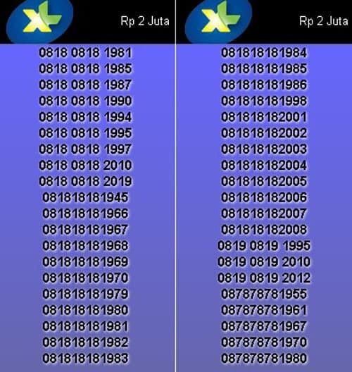Nomor Cantik XL Axiata 08 181818 XXXX & 08 787878 XXXX