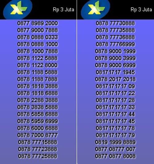Nomor Cantik XL Axiata 0878 8000 XXXX & 0878 9000 XXXX