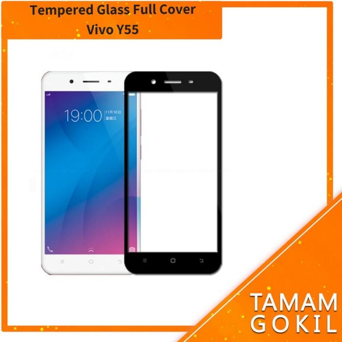 Tempered Glass Vivo Y55 Full Cover Full Color - Hitam