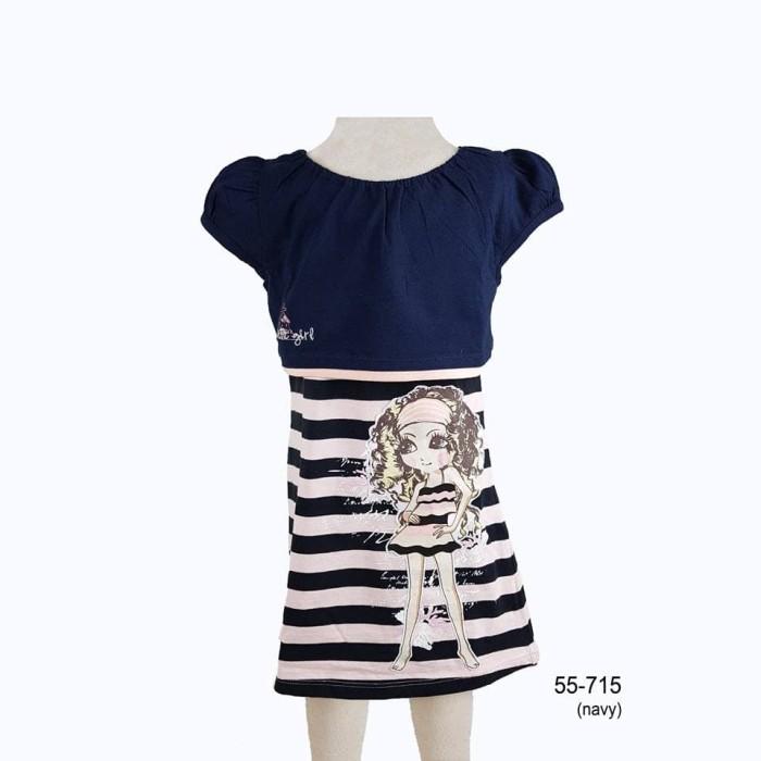 harga Cutie fun 56-715 pakaian baju dress anak perempuan (usia 2-11 tahun) - 8-9 tahun navy Tokopedia.com