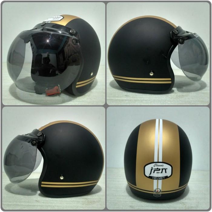 harga Helm bogo jpn motif classic retro hitam gold doff + kaca bogo original Tokopedia.com