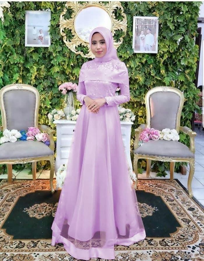 Jual Baju Gamis Pesta Muslim Anggunia Purple Brokat Mutiara Mewah