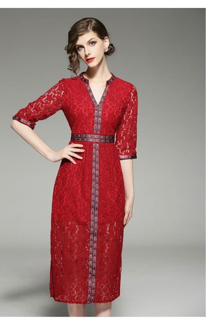 Jual Oo735 Baju Terusan Wanita Dress Premium Import Brokat Dki Jakarta Luv Luv Collection Tokopedia