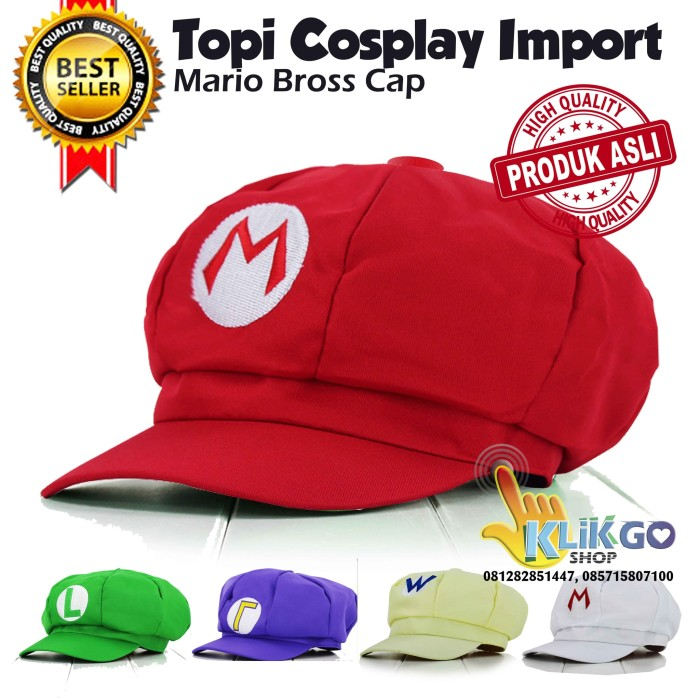 harga Topi mario bross import / topi cosplay mario bros / mario bross cap Tokopedia.com